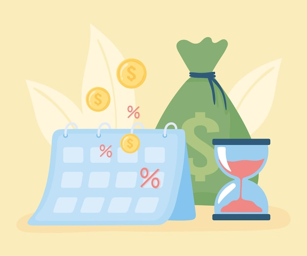 Sac d'argent et calendrier