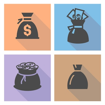 Sac d'argent, définir des boutons colorés, illustration vectorielle