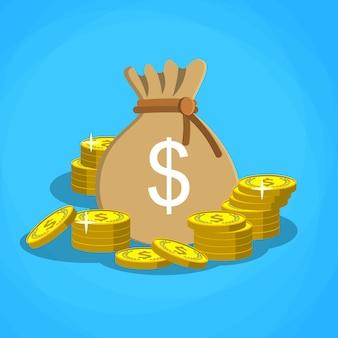 Sac avec de l'argent en dollars