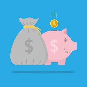 Sac d'argent avec des fonds d'icône d'économie