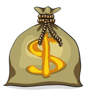 Sac d'argent avec illustration vectorielle signe dollar