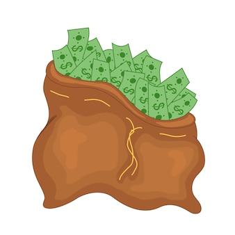 Sac d'argent, moneybag plat simple illustration de dessin animé.