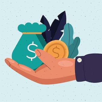 Sac d'argent et pièce de monnaie à portée de main de l'illustration du thème du commerce et du marché bancaire des affaires financières