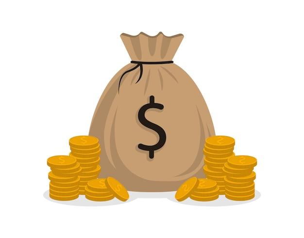 Sac d'argent et pièces d'or isolés sur fond blanc