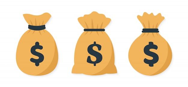 Sac d'argent plat. illustration