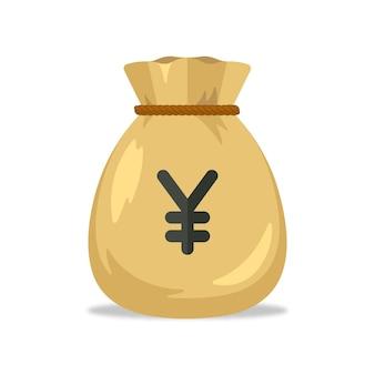 Sac d'argent avec symbole yen