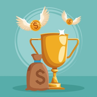 Sac d'argent et trophée d'or avec des pièces d'argent avec des ailes volant autour