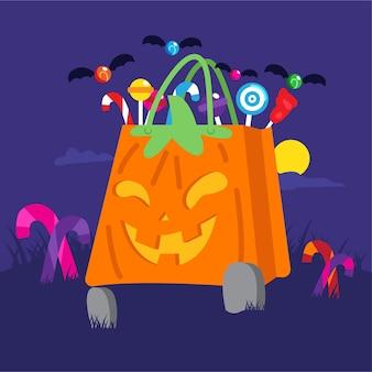 Sac de bonbons halloween design plat