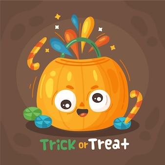 Sac de bonbons d'halloween dessiné à la main