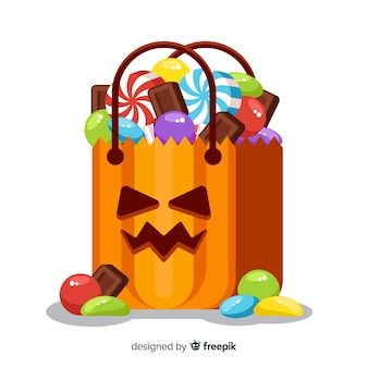Sac avec des bonbons d'halloween