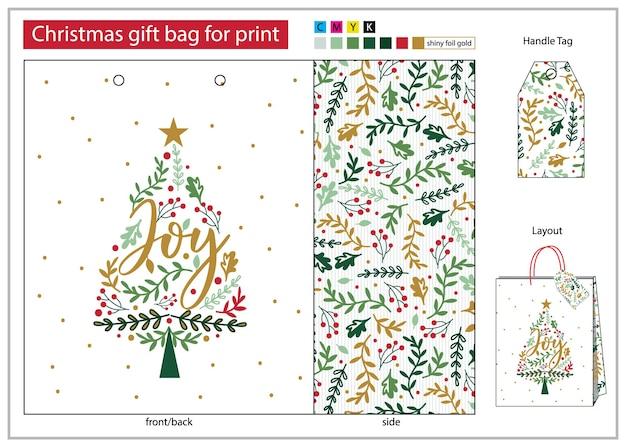 Sac cadeau de noël à imprimer avec ligne de matrice et poignée d'étiquette conception de sac cadeau sapin de noël