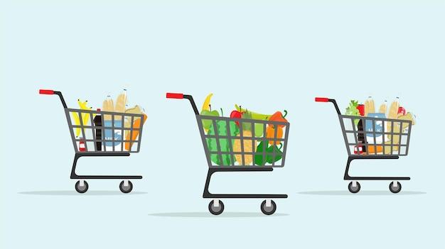 Sac chariot à provisions et panier panier épicerie supermarché
