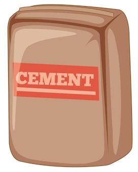 Sac de ciment sur fond blanc