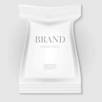 Sac à collation alimentaire blanc blanc avec espace de copie. illustration vectorielle