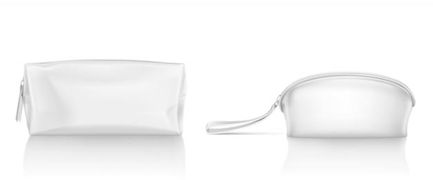 Sac cosmétique blanc avec fermeture éclair pour le maquillage