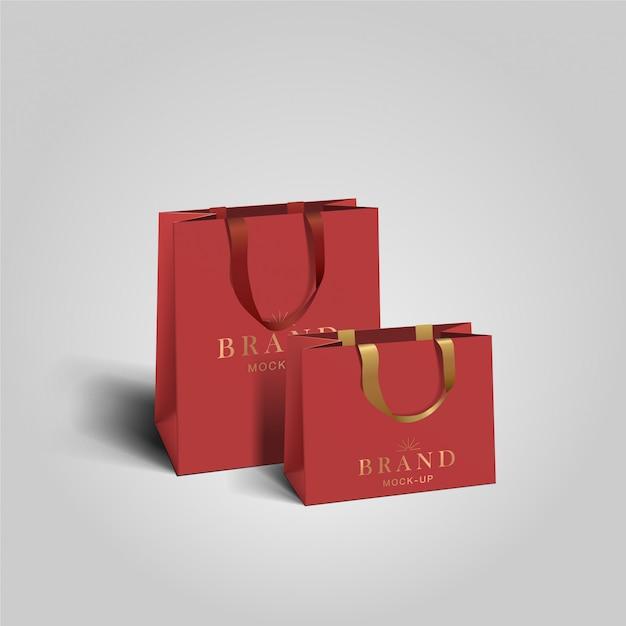 Sac de courses . sacs en papier blanc rouge. shopping package de produits pour le modèle de marque d'entreprise.