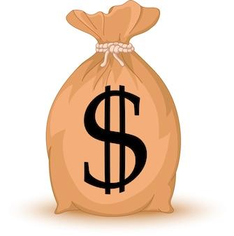 Sac d'argent avec signe du dollar