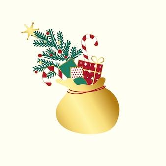 Sac doré avec vecteur de cadeaux de noël