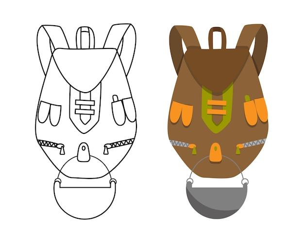 Sac à dos de camping coloré au design plat avec illustration vectorielle à colorier. sac à dos touristique rétro. sac à dos de randonnée de style classique. sac de camp et de randonnée et sac à dos.