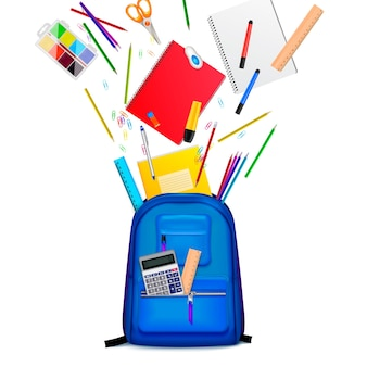 Sac à dos d'école avec papeterie colorée qui s'envole