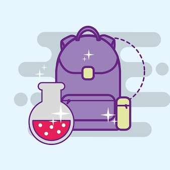 Sac à dos d'école et tube à essai de chimie