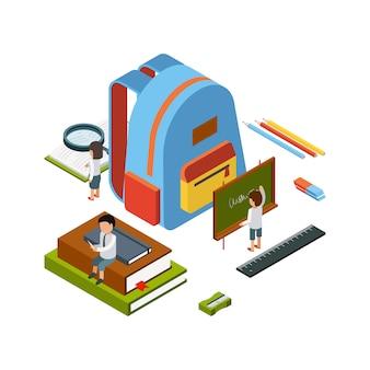 Sac à dos isométrique. articles stationnaires scolaires éducation gens heureux collège sac vector concept