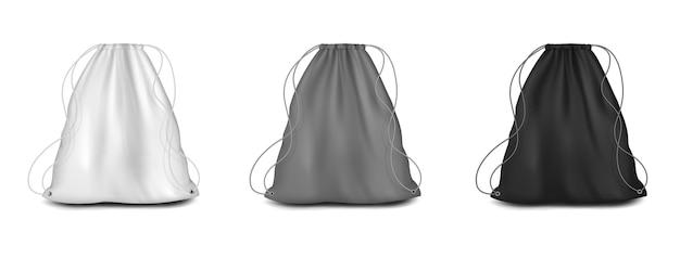 Sac à dos avec maquette de cordes set vector illustration blanc gris noir cordon de serrage pochette en toile sport ...