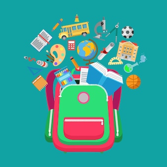 Sac à dos plat conceptuel avec illustration de types d'objets scolaires éducatifs. éducation et connaissance, concept de «retour à l'école». icônes de bus, microscope, bâtiment, fiole, palette et certificat