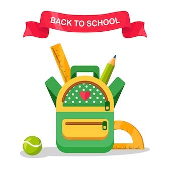 Sac à dos scolaire. sac à dos pour enfants, sac à dos. sac avec fournitures, règle, crayon, papier. cartable élève