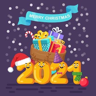 Sac du père noël avec boîte-cadeau et chiffres drôles. sac de noël plein de cadeaux. 2021 nouvel an