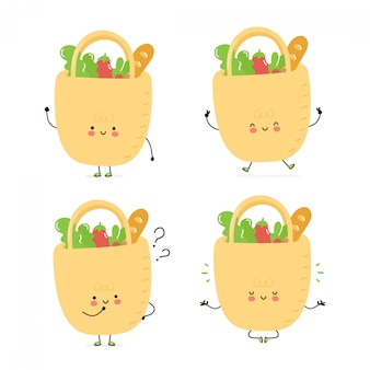 Sac eco heureux mignon avec la collection de jeux de caractères de nourriture. isolé sur blanc conception de dessin vectoriel personnage illustration, style plat simple. sac écologique marche, forme, pense, médite