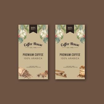 Sac d'emballage de café avec branche laisse haricot, machine de machine, illustration aquarelle