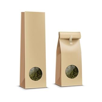 Sac d'emballage de paquet d'emballage de papier de thé de café avec la fenêtre