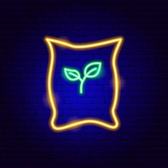 Sac d'enseigne au néon de graines. illustration vectorielle de la promotion du jardin.