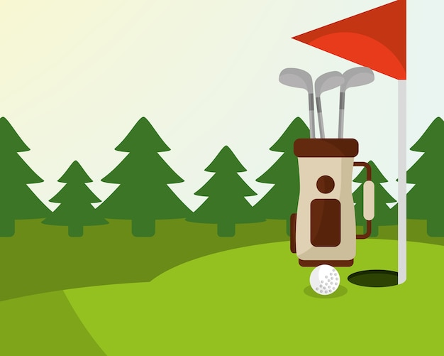 Sac de golf balle drapeau rouge arbres sur le terrain