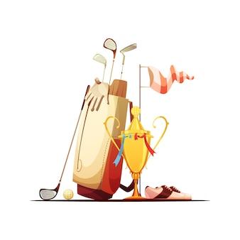 Sac de golf avec chaussures de clubs de balles et dessin animé rétro du trophée du vainqueur du tour