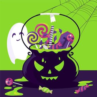 Sac d'halloween design plat avec des bonbons