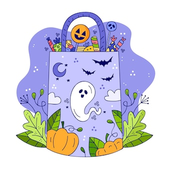 Sac d'halloween dessiné à la main
