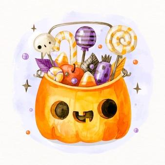 Sac d'halloween dessiné à la main