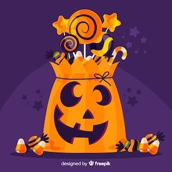 Sac d'halloween heureux dessiné à la main