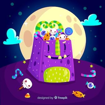 Sac d'halloween violet avec la pleine lune