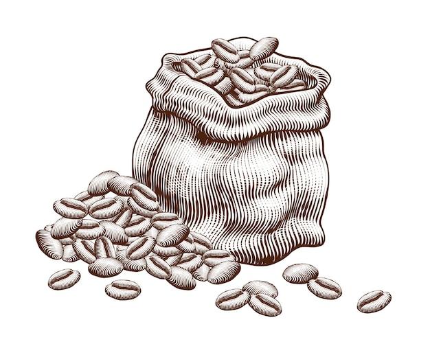 Sac en jute gravé de grains de café sur fond blanc
