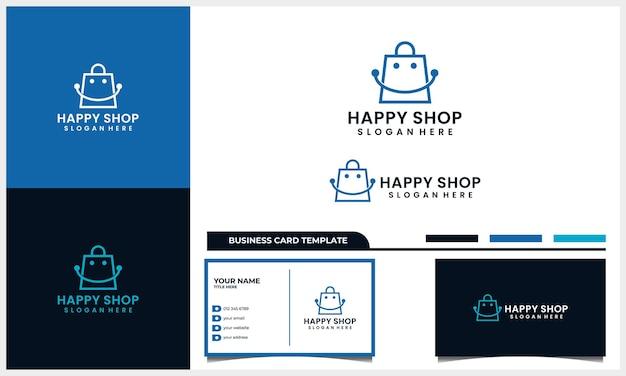 Sac de magasin avec logo de symbole de sourire et modèle de carte de visite