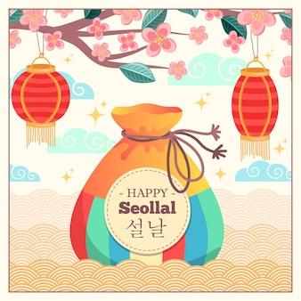 Sac à main avec de l'argent chanceux nouvel an coréen
