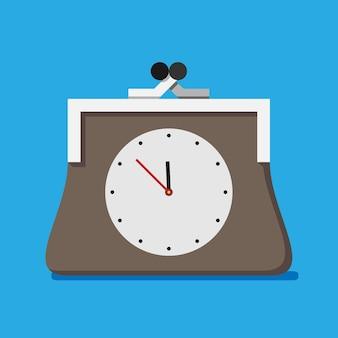 Sac à main avec horloge, le temps c'est le concept de l'argent. illustration vectorielle eps 10, pas de transparence