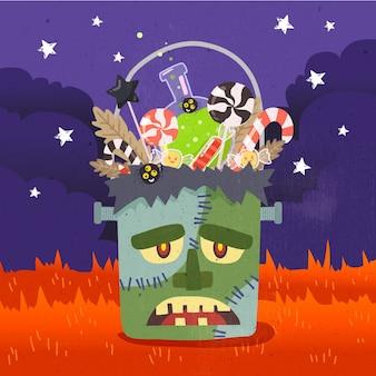 Sac monstre halloween design plat