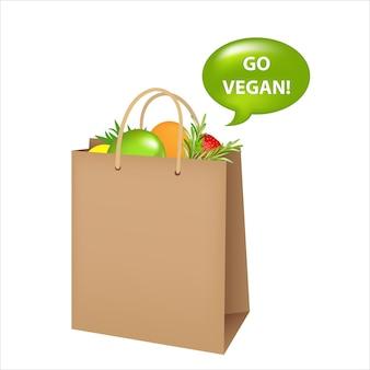Sac avec de la nourriture végétalienne, isolé sur blanc.
