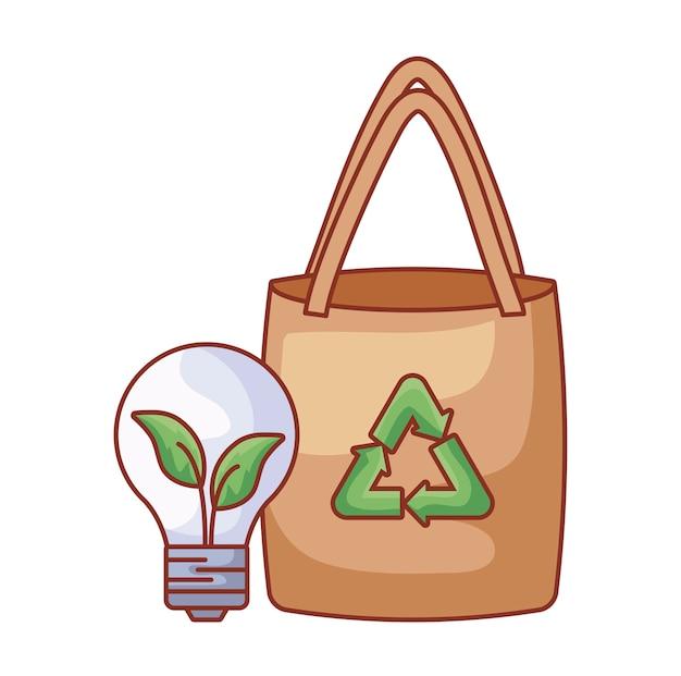 Sac en papier avec ampoule écologique