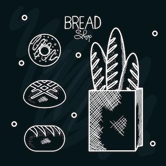 Sac en papier dessiné à la main avec des baguettes de pain et des beignets