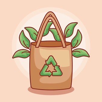 Sac en papier écologique avec feuilles